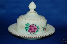 Antique Heisey Ring Band Custard Floral Butter Dish