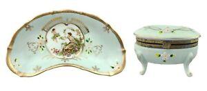 Vintage Porcelain Vanity Set Tray & Lidded Trinket Ring Box Aqua Blue Gold Trim