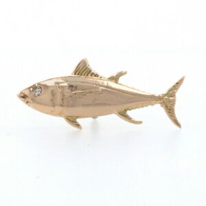 Diamond-Accented Tuna Lapel Pin - 14k Rose & Yellow Gold Deep Sea Fishing