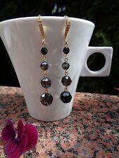 Goldohrringe, vergoldet, mit Kristall-Perlen in schwarz