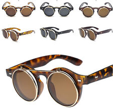 Steampunk Goggles Glasses Party Flip Up Round Clear Lens Sunglasses Lady Gaga