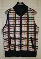 Le Tigre Reversible Pink-Yellow Plaid/Black Puffer Vest Zipper Front Women's Xl
