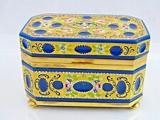 Antique Very Large Murano Glass Box Enamel Gold Opaline Gilt Dore Bronze Italy