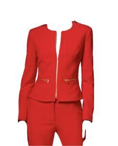 Calvin Klein Red Peplum Jacket, gold zipper accents, NWT, Size 8