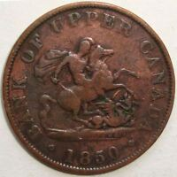 1850 BANK OF UPPER CANADA ONE HALF-PENNY BANK TOKEN