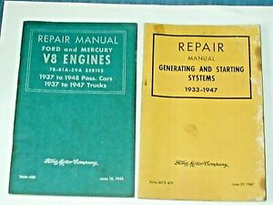 2  FORD FACTORY REPAIR MANUALS V-8 ENGINES 1937 - 1948 FORD MERCURY & TRUCK LOOK