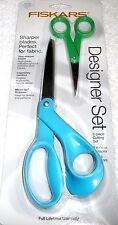 """Fiskars Designer Scissors Set of 2 - 8"""" Blue Handles & No. 5 Green Handles"""