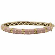 Pink Enamel Flowers Gold Plated Kids Bangle Bracelet 50mm