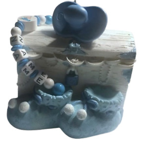 Spardose mit Namen Schatzkiste Baby Junge blau Geburt Taufe personalisiert