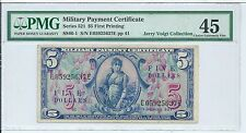 Series 521 $5 Military Payment Certificate Rare First MPC Note Currency PMG 45