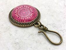 Magnetic Portuguese Knitting Pin- ID Badge Holder- Rose Mandala