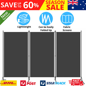 Room Divider Folding Home Dressing Fabric Privacy Screen 3-Panel Partition Black