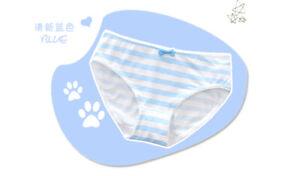 Blue Pink Striped Women Panties Underwear Briefs Cute Girls Janpan Anime Cosplay