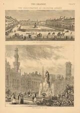 England, Leicester Square In 1753 And In 1874, Vintage 1874 Antique Art Print
