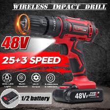 Furadeira Sem Fio Elétrico 48V Kits de ferramentas Li-íon Bateria Dual Speed 3 fases H}}