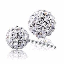 18k White Gold Filled Earrings Women's Ball CZ Ear Stud GF Fashion Charm Jewelry