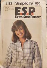 Simplicity E.S.P. Pattern 8183 Misses' Pullover Blouson Top size 10,12,14 uncut