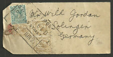 1/- X3 4D GEORGE V PARCEL TAG TO GERMANY SHEFFIELD CHARLES STREET 1922