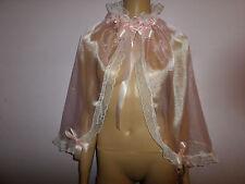 Adulte Bébé Rose Organza Sissy Cape Froncée Satin Liens + ruban blanc bordure dentelle