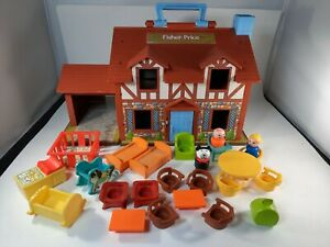 Vintage Fisher-Price Little People Play Family House Brown Tudor #952 Furniture