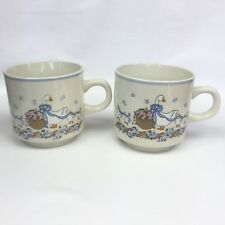 2 x Vintage 80s/90s Geese With Blue Bows Ceramic Beige Coffee Mug Tea Cup VGUC