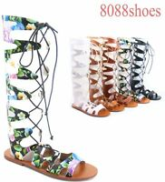 Women's Sexy Strappy Zip Lace UP Gladiator Flat Sandal Shoes Size 5.5 - 11 NEW