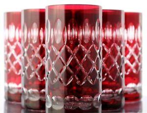 Longdrink Lens, Roman Lead Glass, 6 X (283 Ru), Red Crystal Highball Glasses