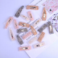 Women Crystal Beaded Snap Hair Clips Barrette Hairpin Headwear Hair Accesories