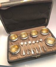 Boxed set of 6 Salt Cellars and Spoons, In original Box, Sterling Silver