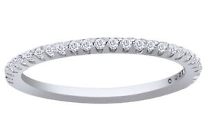 0.25 Ct Round Cut Diamond Wedding Ring Pave Band 14k Solid White Gold