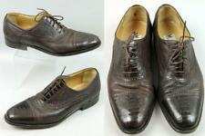 Men's Moreschi Italy Brown Genuine Ostrich Leather Cap Toe Oxford Dress Shoes 9