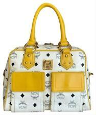 Authentic MCM White Yellow Coated Canvas Leather Medium Satchel Handbag