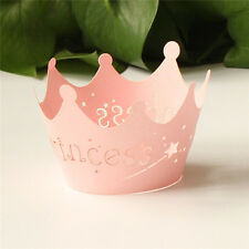 Hot 12pcs Paper Cupcake Princess Crown Pattern Wrappers Wedding Birthday Decor