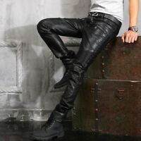 Fashion Casual Mens Leather Pants Zipper Motorcycle Slim Fit Trousers Punk Hot