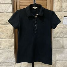 Burberry Brit Women's Short Sleeve Polo Shirt Nova Check Trim Black Size Small