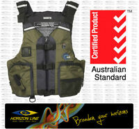 Calcutta Fishing Olive PFD Life Jacket Vest Kayak Canoe Angler Sit on Top Boat