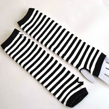 Women Slouch Gothic Striped Long Fingerless Knit Gloves Mittens Arm Warmer