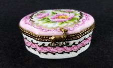 Limoges France Trinket Box with Deer Clasp - Hand Painted