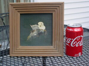 VINTAGE BIRD IN NEST OIL PAINTING ON ARTIST BOARD SIGNED N/R