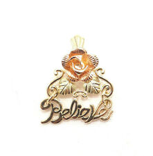 """Flower Hinged Pendant Free Shipping 10k Solid Gold Rose """"Believe"""" Multi-Tone"""