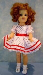 "1950's Ideal 17"" Shirley Temple Doll, Flirty Eyes, Red/White Polka Dot Dress"