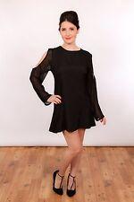 90 S Vintage Sheer Mousseline Découpe Épaule soie noire baby doll robe