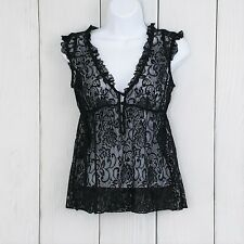 URBAN OUTFITTERS Kimchi Blue sz S Black Lace Babydoll Top Blouse Short Sleeve
