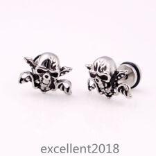 Men Stainless Steel Silver Pirate Skull Skeletons Screw Back Stud Earrings