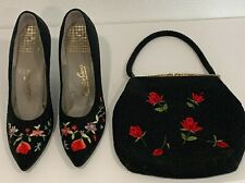 Vintage Saks Ave Shoes 7N Heels and Evening Bag Black Beaded Floral Embroidered