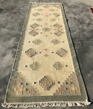 Authentic Hand Knotted Vintage Indo Wool Kilim Area Runner 8 x 3 Ft (268 Bn)