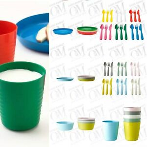 IKEA Kids Bowls Plates Cutlery Cups Mugs Multicoloured Set baby toddler feeding