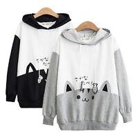 Women Cat Hoodie Long Sleeve Loose Sweatshirt Pullover Jumper Casual Cute Blouse