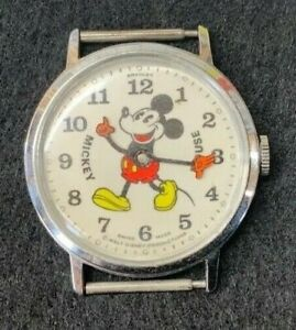 vintage Mickey Mouse wrist watch 1972  Bradley orange hands