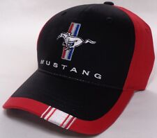 Hat Cap Ford Mustang Tri Bar Pony Stripe Red CF